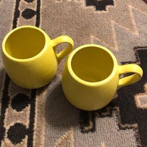 Set- 2 yellow vintage matching round pottery mugs